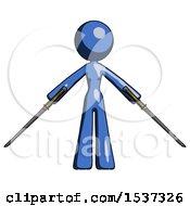 Blue Design Mascot Woman Posing With Two Ninja Sword Katanas