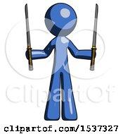 Blue Design Mascot Man Posing With Two Ninja Sword Katanas Up