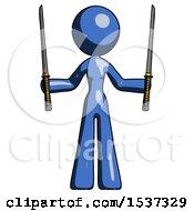 Blue Design Mascot Woman Posing With Two Ninja Sword Katanas Up