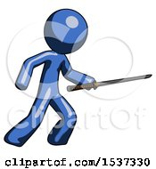Blue Design Mascot Man Stabbing With Ninja Sword Katana