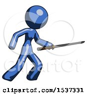 Blue Design Mascot Woman Stabbing With Ninja Sword Katana