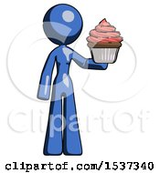 Blue Design Mascot Woman Presenting Pink Cupcake To Viewer