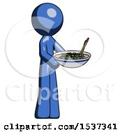 Blue Design Mascot Man Holding Noodles Offering To Viewer