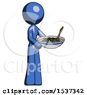 Blue Design Mascot Woman Holding Noodles Offering To Viewer