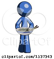 Blue Design Mascot Man Serving Or Presenting Noodles