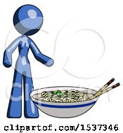 Blue Design Mascot Woman And Noodle Bowl Giant Soup Restaraunt Concept