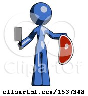 Blue Design Mascot Woman Holding Large Steak With Butcher Knife