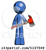 Blue Design Mascot Man Holding Red Fire Fighters Ax