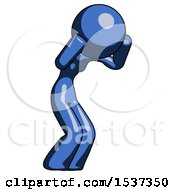 Blue Design Mascot Woman With Headache Or Covering Ears Facing Turned To Her Right