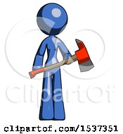 Blue Design Mascot Woman Holding Red Fire Fighters Ax