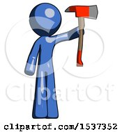 Blue Design Mascot Man Holding Up Red Firefighters Ax