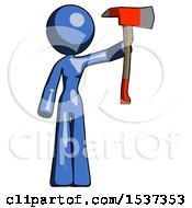 Blue Design Mascot Woman Holding Up Red Firefighters Ax
