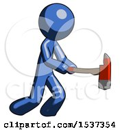 Blue Design Mascot Man With Ax Hitting Striking Or Chopping
