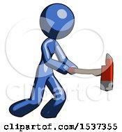 Blue Design Mascot Woman With Ax Hitting Striking Or Chopping