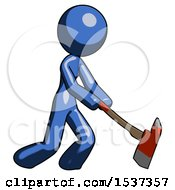 Blue Design Mascot Woman Striking With A Red Firefighters Ax