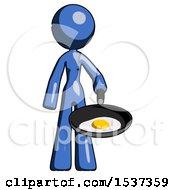 Blue Design Mascot Woman Frying Egg In Pan Or Wok