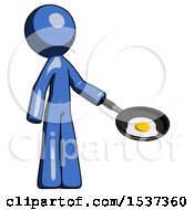 Blue Design Mascot Man Frying Egg In Pan Or Wok Facing Right