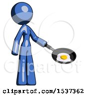Blue Design Mascot Woman Frying Egg In Pan Or Wok Facing Right