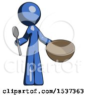 Blue Design Mascot Man With Empty Bowl And Spoon Ready To Make Something