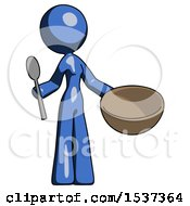 Blue Design Mascot Woman With Empty Bowl And Spoon Ready To Make Something