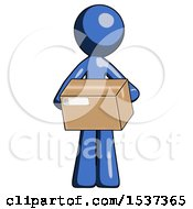 Blue Design Mascot Man Holding Box Sent Or Arriving In Mail
