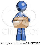 Blue Design Mascot Woman Holding Box Sent Or Arriving In Mail