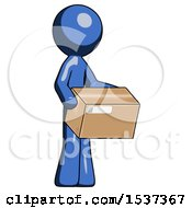 Blue Design Mascot Man Holding Package To Send Or Recieve In Mail