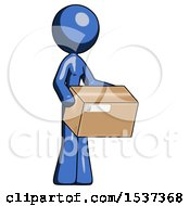Blue Design Mascot Woman Holding Package To Send Or Recieve In Mail