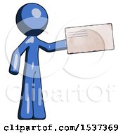 Blue Design Mascot Man Holding Large Envelope