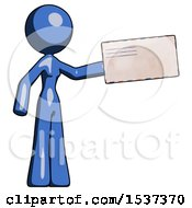 Blue Design Mascot Woman Holding Large Envelope