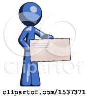 Blue Design Mascot Man Presenting Large Envelope