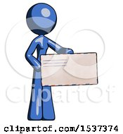 Blue Design Mascot Woman Presenting Large Envelope