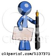 Blue Design Mascot Man Holding Large Envelope And Calligraphy Pen