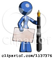 Blue Design Mascot Woman Holding Large Envelope And Calligraphy Pen