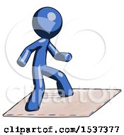 Blue Design Mascot Man On Postage Envelope Surfing