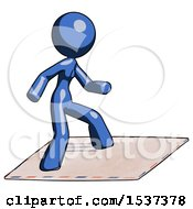 Blue Design Mascot Woman On Postage Envelope Surfing
