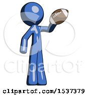 Blue Design Mascot Man Holding Football Up