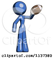 Blue Design Mascot Woman Holding Football Up