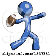 Blue Design Mascot Man Throwing Football