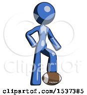 Blue Design Mascot Woman Standing With Foot On Football