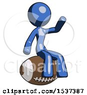Blue Design Mascot Woman Sitting On Giant Football
