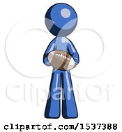 Blue Design Mascot Man Giving Football To You