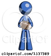 Blue Design Mascot Woman Giving Football To You
