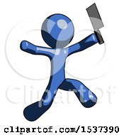 Blue Design Mascot Man Psycho Running With Meat Cleaver
