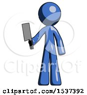 Blue Design Mascot Man Holding Meat Cleaver