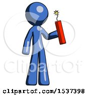 Blue Design Mascot Man Holding Dynamite With Fuse Lit