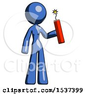 Blue Design Mascot Woman Holding Dynamite With Fuse Lit