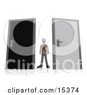 Uncertain Businessman Standing Between A Black And A Grey Door Trying To Decide Which Career Path To Take