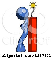 Blue Design Mascot Woman Leaning Against Dynimate Large Stick Ready To Blow