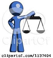 Blue Design Mascot Man Holding Scales Of Justice